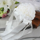 New Handmade Satin Rose Silk Flower Rhinestone Bridal Wedding Bouquet Decoration