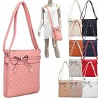 Ladies Quilted Bow Faux Leather Shoulder Bag Cross Body Messenger Bag M34738
