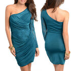WomenTeal Cocktail Party Race Lace One Sleeved Dress Size 8 S 10 M 12 L NEW