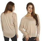 SML Taupe Lace Embroidered Sleeves Slouchy Kimono Loose Fit Jersey Tee Shirt Top