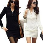 Shirt One Piece Office Long Sleeve Career Stretchy Ladies Dress US sz 0-6