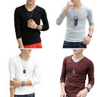 STO Mens Spring Simple Style Solid Color V-neck 3/4 Sleeves Casual T-shirt M-XXL