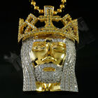 18K Gold Plated JESUS PIECE Iced Out Crown Pendant Ball Chain Hip Hop Necklace