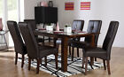 Java & Logan Extending Dark Wood Dining Table & 4 6 Leather Chairs Set (Brown)