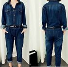 Womens lady casual jumpsuit Vintage Denim Fashion Belted overalls long pants