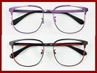 Vintage Eyeglass frames Men Women Large shape Metal RX lens-able black/purple