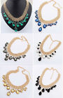 NEW Multi-Layer Chains Tassel Water Drop Crystal Gem Choker Statement Necklace
