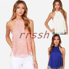 2015 New Women Summer Casual Slim Lace Sleeveless Tops Vest Loose T-Shirt Blouse