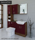 BURGUNDY A WALNUT BATHROOM FITTED FURNITURE 1400MM WITH WALL