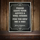 GUEST BOOK WEDDING SIGN PERSONALISED VINTAGE CHALKBOARD STYLE - BUDMO