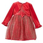 """Youngland Infant/Toddler Girls Red """"Gold Stream"""" Occasion Dress with Shrug NWT"""