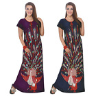 LADIES LONG CHEMISE WOMENS PEACOCK PRINT NIGHTIE NIGHTSHIRT NIGHTWEAR 8-14