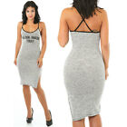 Ladies Letter Printed Bodycon Dress Amazing Today Low Side Slit Spagetti Straps