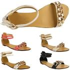 Ladies Gladiator Gold Chain Buckle Flat Summer Sandals Beach Party Shoes Womens