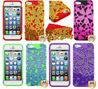FOR IPHONE 5 / 5S Phone Case Hybrid Cute Flower Bling Silicone Cover Protector