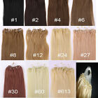 Micro Ring Easy Loop Hoop 100% Real Natural Remy Human Hair Extensions 100s New