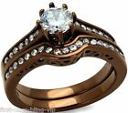 6mm Size 5 6 7 J L N Chocolate Engagement Ring WEDDING SET Steel LTK1330E