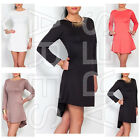 ARES Ladies Women's Dress Asymmetric Party Dress Long Sleeve size 8,10,12,14,16