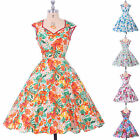 DESIGNER WOMENS 40's 50's RETRO VINTAGE FLARED ROCKABILLY TEA DRESS MANY FLORAL