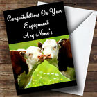 Cows Kissing Personalised Engagement Greetings Card