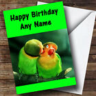 Kissing Parrots Personalised Birthday Greetings Card