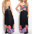 Women maxi Dress Black floral border spring summer long dresses casual party