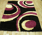 FLORAL MODERN SHAGGY RUGS  OFFER THICK PILE BLUE BLACK RED BROWN SMALL MEDIUM
