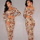 2pc Lady Off Shoulder Leopard Sexy Crop Top Club Bodycon Empire Cocktail Skirt C