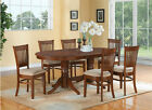 7PC OVAL DINETTE KITCHEN DINING SET TABLE with 6 UPHOLSTERED CHAIRS IN ESPRESSO