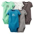 Carter's Boys 5 Pack Light Green/Brown/Blue/White Short Sleeve Lap Shoulder Body