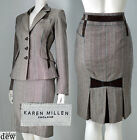 KAREN MILLEN brown TWEED skirt suit JACKET 1940'S WW2 velvet bow 10 12 RARE!
