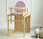 MCC Brand New 3 In 1 Baby Wooden High Chair With Play Table Cushion &amp; Harness <br/> Easy to Clean✔ UK Stock✔ RRP: &pound;42.99✔ Fast Delivery✔