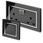 Retrotouch Crystal Black Screwless Sockets and Switches (Chrome Trim)