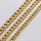 6/7/8mm MENS Chain Boy Gold Tone Hammered Curb Stainless Steel Necklace18-36''