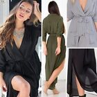 HOT Sexy Womens Maxi Split V Neck Long Sleeve Dress Tunic Chiffon Beach Cocktail