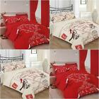 3pc PRINTED DUVET SET ALL YOU NEED IS LOVE DOUBLE OR  KING RED CREAM CHARLOTTE
