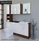 WHITE / OLIVEWOOD BATHROOM FITTED FURNITURE 1700MM & WALL & TALL UNIT