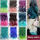 Fashion Curly Gradient Hair Extensions Women Colorful One Piece Clip 14 Colors