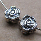 30pcs Tibetan Silver 2-Sided Rose Spacer Beads retro Accessories Wholesale PJ145