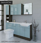 DUCK EGG BLUE / MALI WENGE BATHROOM FITTED FURNITURE 1800MM WITH WALL/TALL UNIT