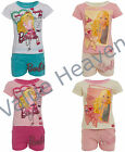 Girls Barbie Doll Short Pyjamas 100% Cotton Summer PJs Pink White Aqua T-Shirt