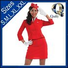 Classic Red Air Hostess Women's Costume | Flight Attendant Fancy Dress