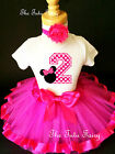 Hot Pink Polka dots Minnie Mouse 2nd Second Birthday Shirt Tutu Outfit Set girl