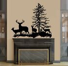 Deer Family Buck Doe and Three Fawns Wall Decal