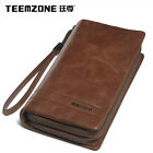 Men Women Real Leather Zip Long Fancy Wallet Clutch Purse Handbag Mobile Holder