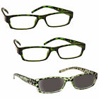 UV Reader 2 x Reading Glasses 1 x Sun Readers 3 Pack Womens Green UVRSR3PK009