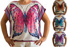New UK Top Shirt Butterfly Summer Womens Ladies Plus Size 14, 16, 18, 20, 22, 24