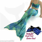 UK MERMAID OUTFIT Tail, Top & Dual Swim Fins in Blue Green Lagoon Kids Gift