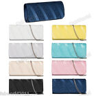 WHITE SILVER BLACK YELLOW GOLD NAVY PINK TURQUOISE Pleated Satin Clutch Bag #84