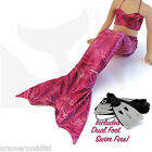 New UK KIDS MERMAID OUTFIT FOR SALE Includes Pink Tail, Top & Dual Swim Fins